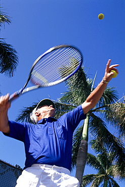 Upward view of senior man playing tennis, palm trees and blue sky