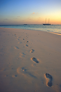 Footprints in white sand along shoreline at sunset