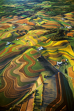 Agriculture - Aerial view of farmsteads surrounded by rolling contoured agricultural fields / near Reading, Pennsylvania, USA.