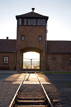 Main Guard House (Gate Of Death) At Sunset, Auschwitz-Birkenau Concentration Camp, Oswiecim, Malopolska, Poland