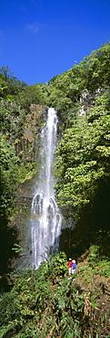 Hawaii, Maui, Wailua Falls, Couple Look At Waterfall, Foliage, Blue Sky Panoramic C1640