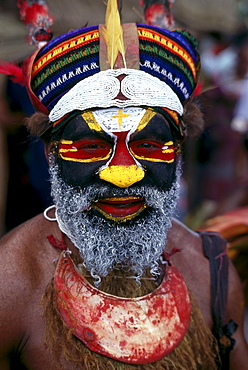 Papua New Guinea, Portrait Of Man In Tribal Dress B1719