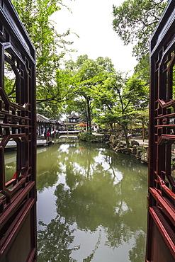 Covered walkways, as seen from the Mandarin Duck Hall in the Humble Administrator's Garden, Suzhou, Jiangsu, China