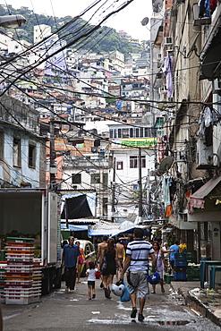 Electric cables in the favelas, Rocinha, Rio de Janeiro, Brazil