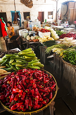 Scene from a local market in a small village near to Wuyuan, Jiangxi province, China
