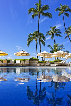 Halekalani Pool at Waikiki with palm trees and umbrellas reflected in the water, Honolulu, Oahu, Hawaii, United States of America