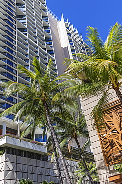 East side of Trump International Hotel Waikiki viewed from Kalia Road in Waikiki, Honolulu, Oahu, Hawaii, United States of America