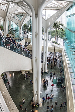 Upper level overview of the Hawaii Convention Center foyer, Waikiki, Honolulu, Oahu, Hawaii, United States of America