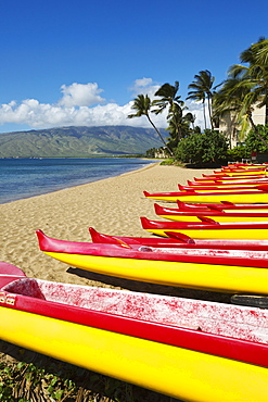 Outrigger canoes on the north end of Kihei, Kihei, Maui, Hawaii, United States of America