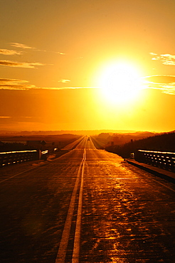 Sunset and highway on Prince Edward Island, Canada, North America