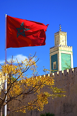 Place Lalla Aouda and the Minaret of the Lalla Aouda Mosque, Meknes, Morocco, North Africa, Africa
