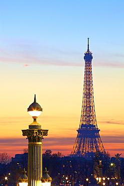 Eiffel Tower from Place de La Concorde, Paris, France, Europe.