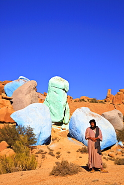 Goat herder with Painted Rocks by Belgian Artist Jean Verame, Tafraoute, Morocco, North Africa, Africa