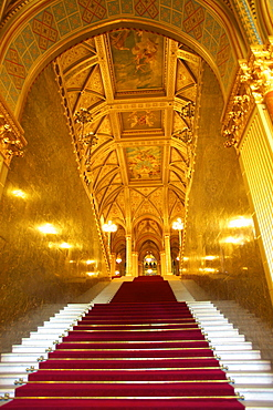 Grand Stairwell, Hungarian Parliament Building, Budapest, Hungary, Europe
