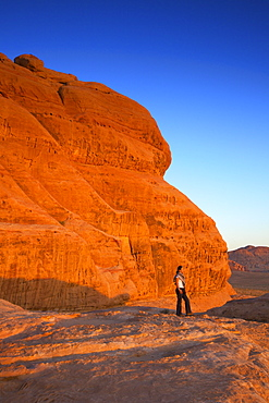 Tourist at Wadi Rum, Jordan, Middle East