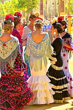 Group of women wearing traditional Spanish costume, Annual Horse Fair, Jerez de la Frontera, Cadiz Province, Andalusia, Spain, Europe