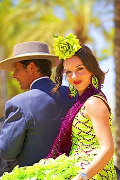 Spanish horse riders in traditional dress at annual Horse Fair, Jerez de la Frontera, Cadiz Province, Andalusia, Spain, Europe