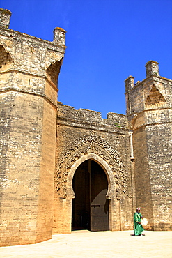 Bab Zaer the Main Gate with musician, Chellah, Rabat, Morocco, North Africa, Africa