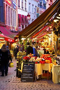 Restaurants in Rue des Bouchers, Brussels, Belgium, Europe