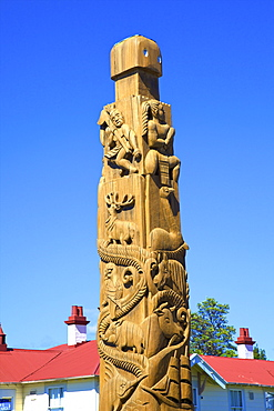 Statue commemorating The Progress of Civilisation, Opotiki, Bay of Plenty, North Island, New Zealand, Pacific
