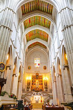 Interior of Almudena Cathedral, Madrid, Spain, Europe