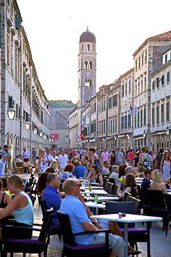Restaurants on the Stradun, Dubrovnik, Croatia, Europe