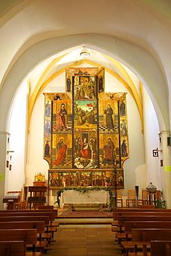 Church interior with 16th century triptych, Nuestra Senora De Jesus, Ibiza, Spain, Europe, Europe
