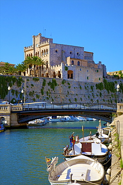 Town Hall and Harbour, Ciutadella, Menorca, Balearic Islands, Spain, Mediterranean, Europe