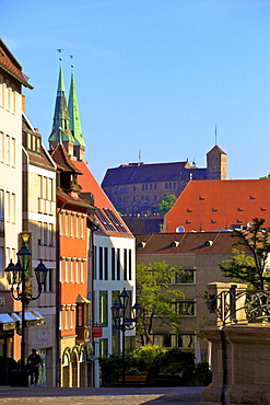 Shopping Area with St. Sebald and Castle in the background, Nuremberg, Bavaria, Germany, Europe