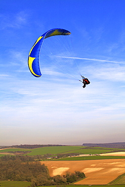 Paragliding over the South Downs, East Sussex, England, United Kingdom, Europe