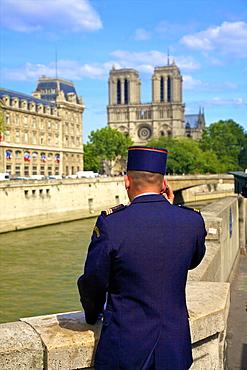 Gendarme in Latin Quarter, Paris, France, Europe