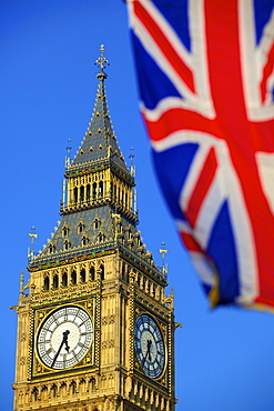Union Jack and Big Ben, London, England, United Kingdom, Europe