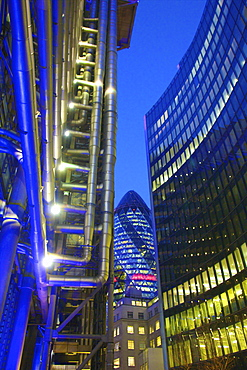 Lloyds Building and The Gherkin, London, England, United Kingdom, Europe