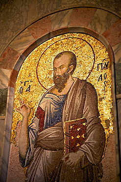 Mosaic of St. Paul, interior of Church of St. Saviour in Chora (Kariye Camii), UNESCO World Heritage Site, Istanbul, Turkey, Europe