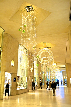 Shopping Arcade with Christmas decorations in the Louvre, Paris, France, Europe