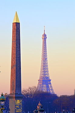 Eiffel Tower from Place de La Concorde with Obelisk in foreground, Paris, France, Europe