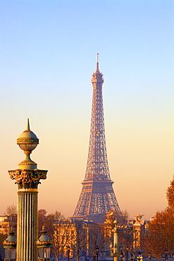 Eiffel Tower from Place de La Concorde, Paris, France, Europe