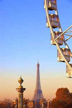 Eiffel Tower From Place de La Concorde with Big Wheel in foreground, Paris, France, Europe