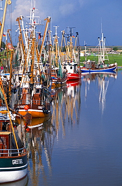 Fishing boats in harbour, Greetsiel, Lower Saxony, Germany
