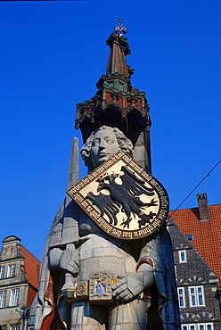 Statue of Roland at market square, Bremen, Germany