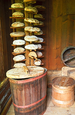 Shelf with bread at museum of local history, Alagna, Piemont, Italy
