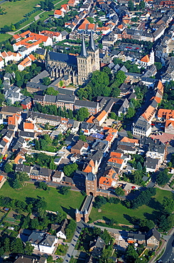 View on Xanten with cathedral, North Rhine-Westphalia, Germany