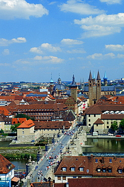 View to old Main bridge and the old part of Wurzburg with townhall and cathedral St. Kilian, Bavaria, Germany