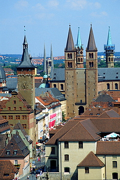 View to the old part of Wurzburg with townhall and cathedral St. Kilian, Bavaria, Germany