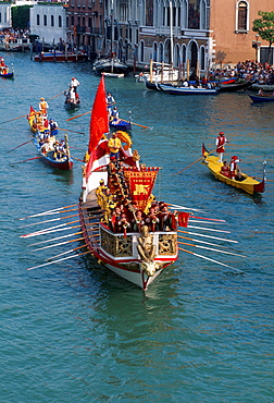 Historical regatta 'Regatta Storica', boat and gondolas on the Grand Canal, Venice, Italy