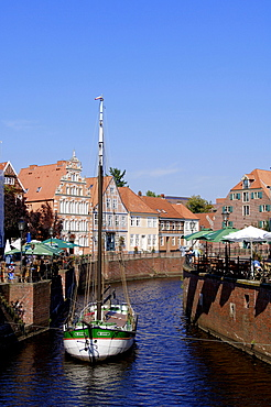 Ship in the old harbour, Stade, Lower Saxony, Germany