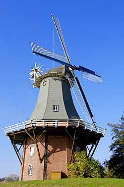 Windmill, one of the twin mills, Greetsiel, Lower Saxony, Germany