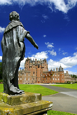 Glamis Castle and Shakespeare memorial, near Glamis, Angus, Scotland
