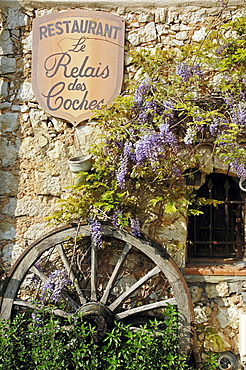Sign of restaurant, cart wheel and Chinese Wisteria, Tourrettes sur Loup, Alpes-Maritimes, Provence-Alpes-Cote d'Azur, Southern France / (Wisteria sinensis, Wisteria chinensis)