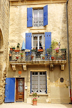 House with balcony, Remoulins, Gard, Languedoc-Roussillon, Southern France